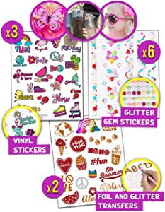 Purple Ladybug Mega Sticker Variety Pack for Girls – 4 Different Kinds of Stickers for Decorating Kids Water Bottle, Laptop, Phone or Anything! Gem Stone, Glitter, Holographic, and Vinyl Stickers