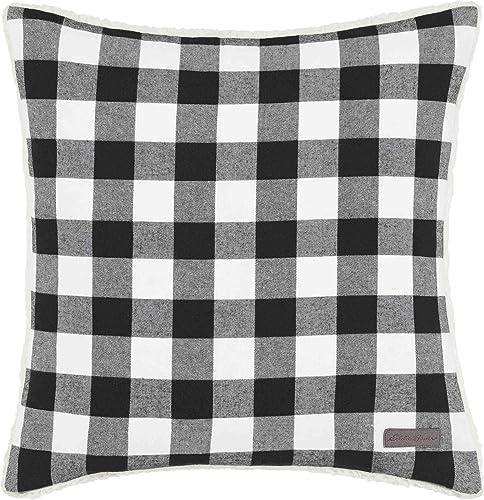 Eddie Bauer Home Collection 100 Fleece Signature Cabin Plaid Design Decorative Pillow, Zipper Closure, Easy Care Machine Washable, 20-inch Pillow, Black
