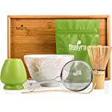 Tealyra - Matcha Kit - Connoisseur Ceremony Start Up Set - Premium Matcha Tea Powder - Hand-Made Japanese Bowl - Bamboo Whisk Scoop and Tray - Holder - Sifter