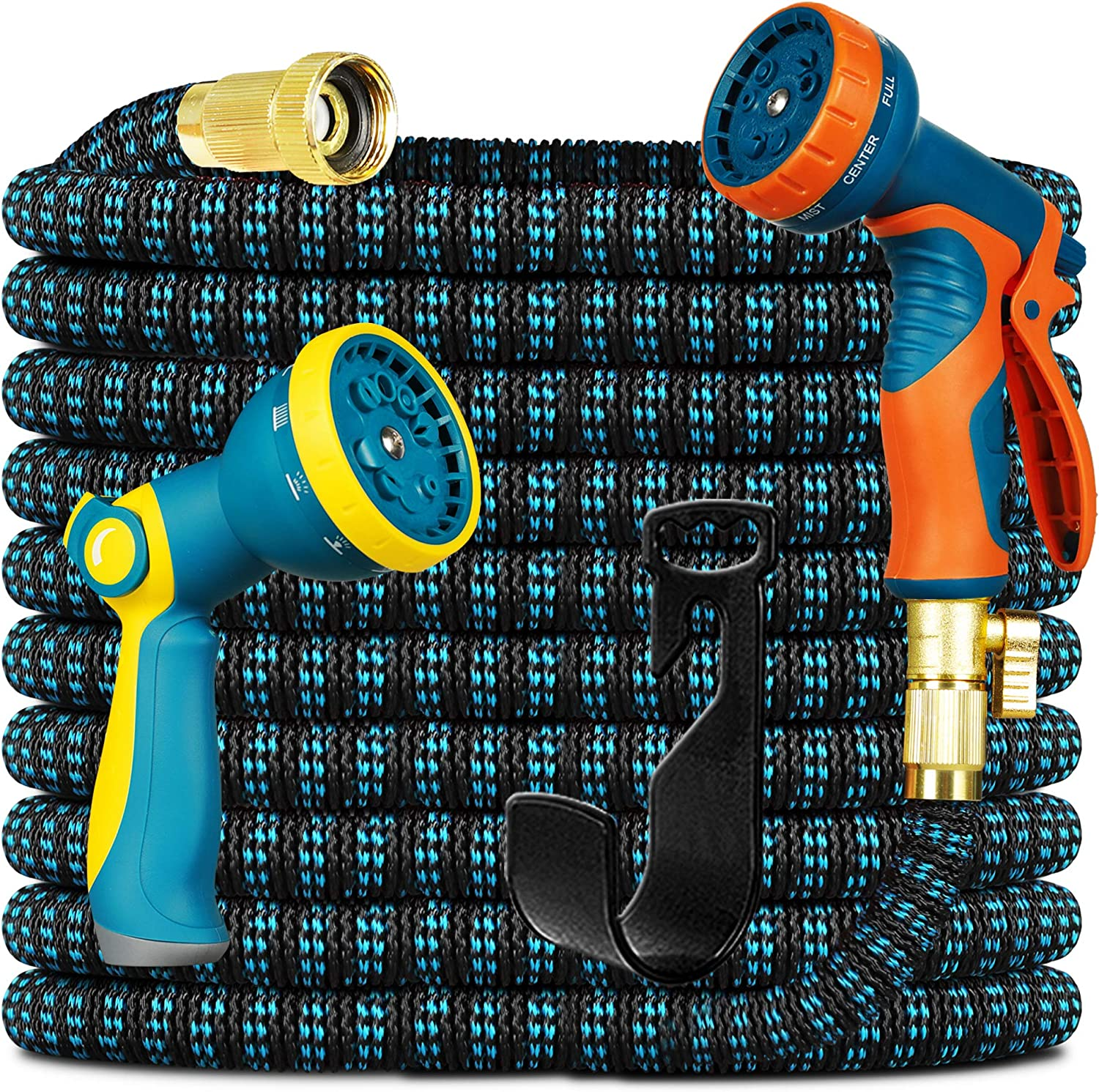 Knoikos Expandable Garden Hose 100ft - Expanding Water Hose with 10 Function Nozzle 2 Pack, Easy Storage Garden Water Hose for Yard Hose Car Wash Hose Pipe