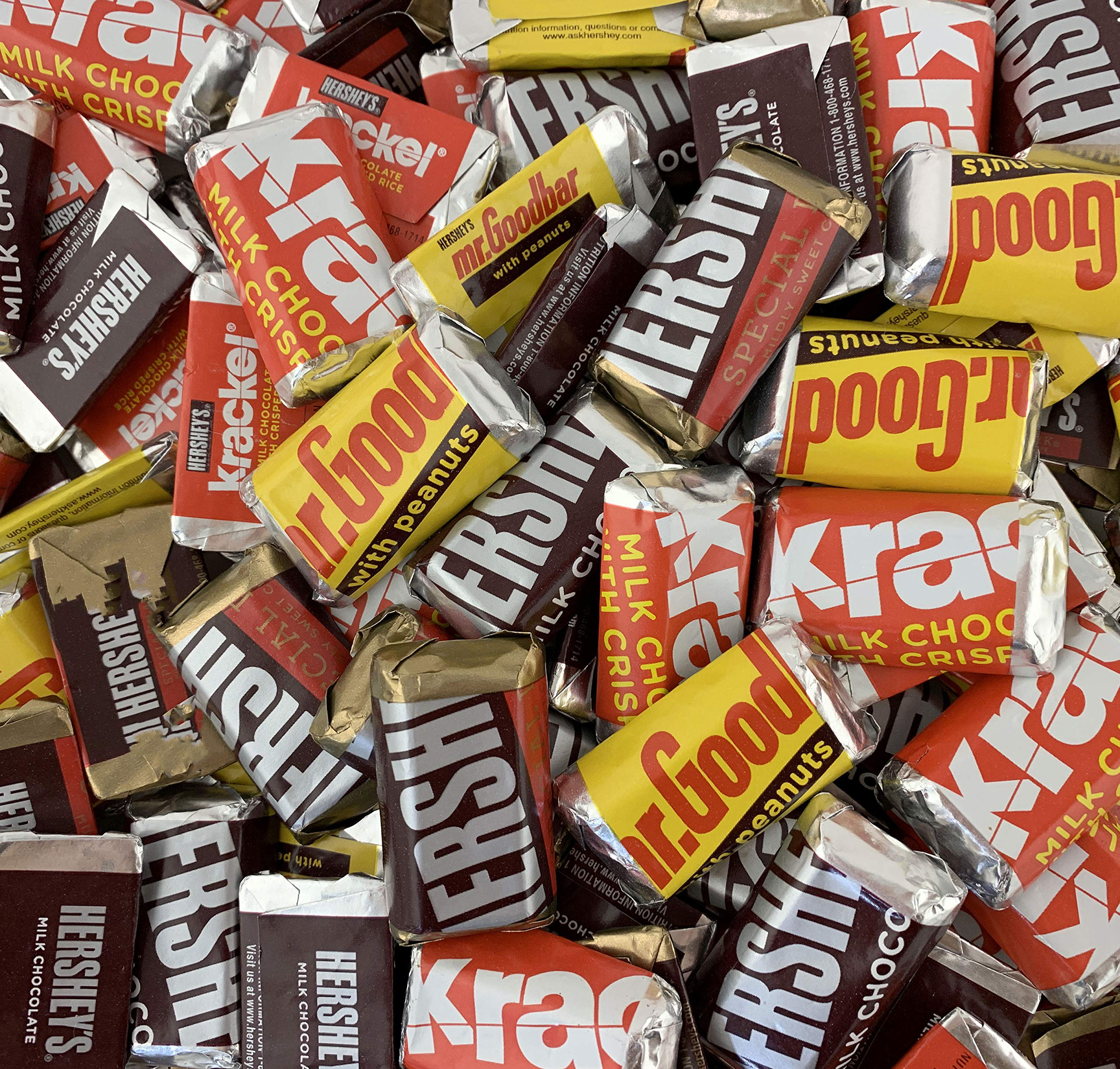 HERSHEY'S Chocolate Assorted Miniatures, MR. GOODBAR, HERSHEY'S SPECIAL DARK Chocolate, HERSHEY'S Milk Chocolate, KRACKEL Candy Bar, 2 Pounds Bag