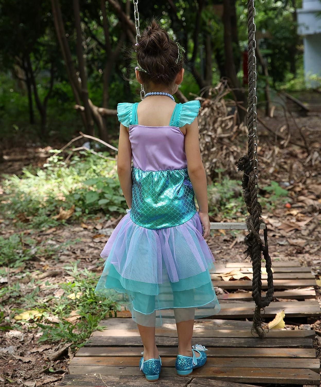 Lito Angels Petites filles Petite princesse sir/ène Ariel Robes D/éguisements Halloween Soir/ée chique Shabiller Jupe Violet 265