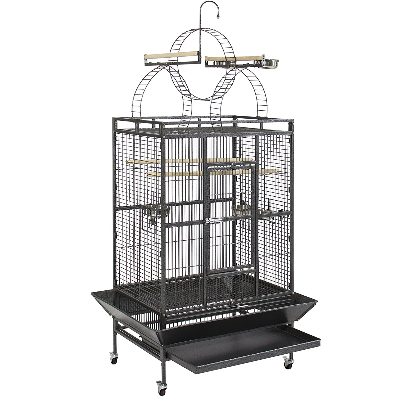Best Choice Products 92in Durable Iron Bird Cage w/ Long Wooden Perches, Play Area, and Rolling Wheels - Black Best Choice Products - Pets SKY1775