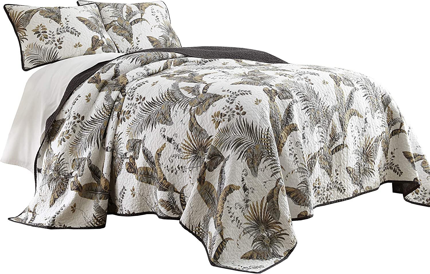 Chezmoi Collection Tahiti 3-Piece Tropical Foliage Vintage Washed 100%-Cotton Reversible Quilt Set (King)