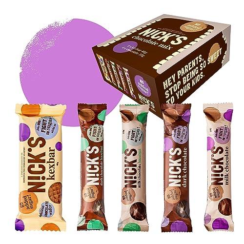 NICKS Chocolate Mix Box with Assorted Chocolate bars, no added sugar, gluten free (6 x 40g + 6 x 25g)
