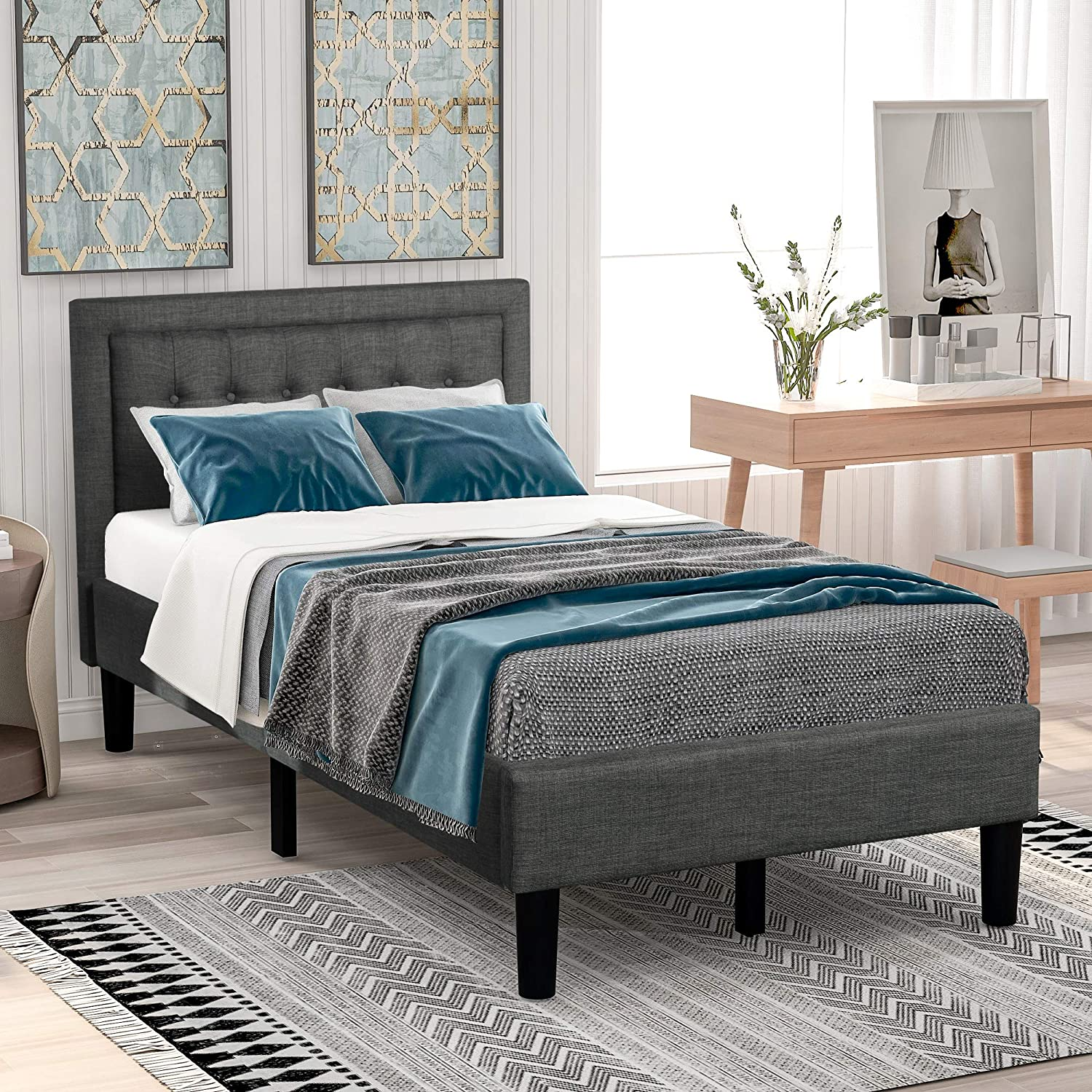 Upholstered Platform Bed, Twin Platform Bed Frame with Headboard