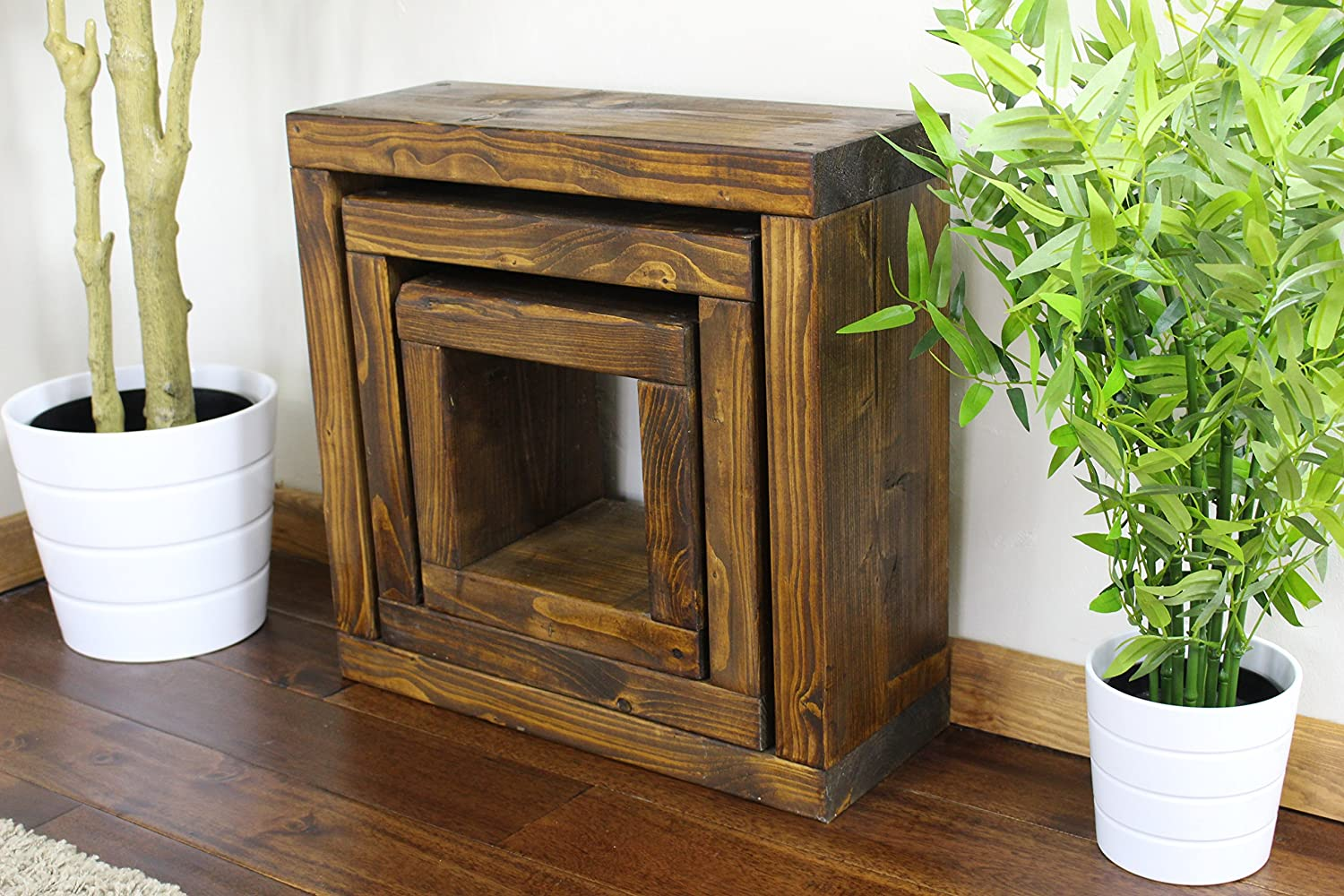 Solid Rustic Handmade Pine CUBE nest/side/lamp/end table, finished in a Chunky Country Oak effect (50cm x 20cm x 50cm) (Dark Oak)