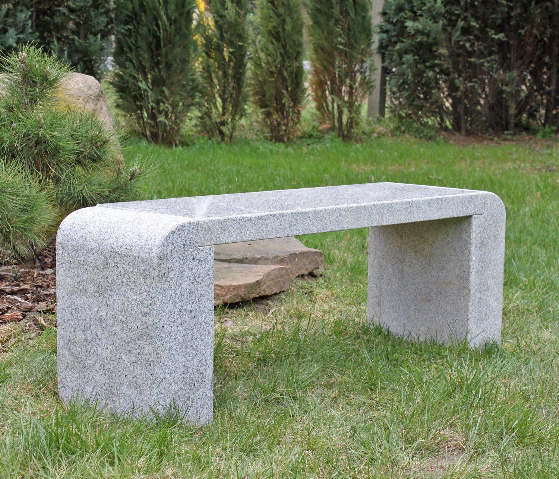 Amazon.de: Design Granit Gartenbank Massive Granitbank Steinbank Naturstein  Bank Grau Designbank Sitzflache Poliert