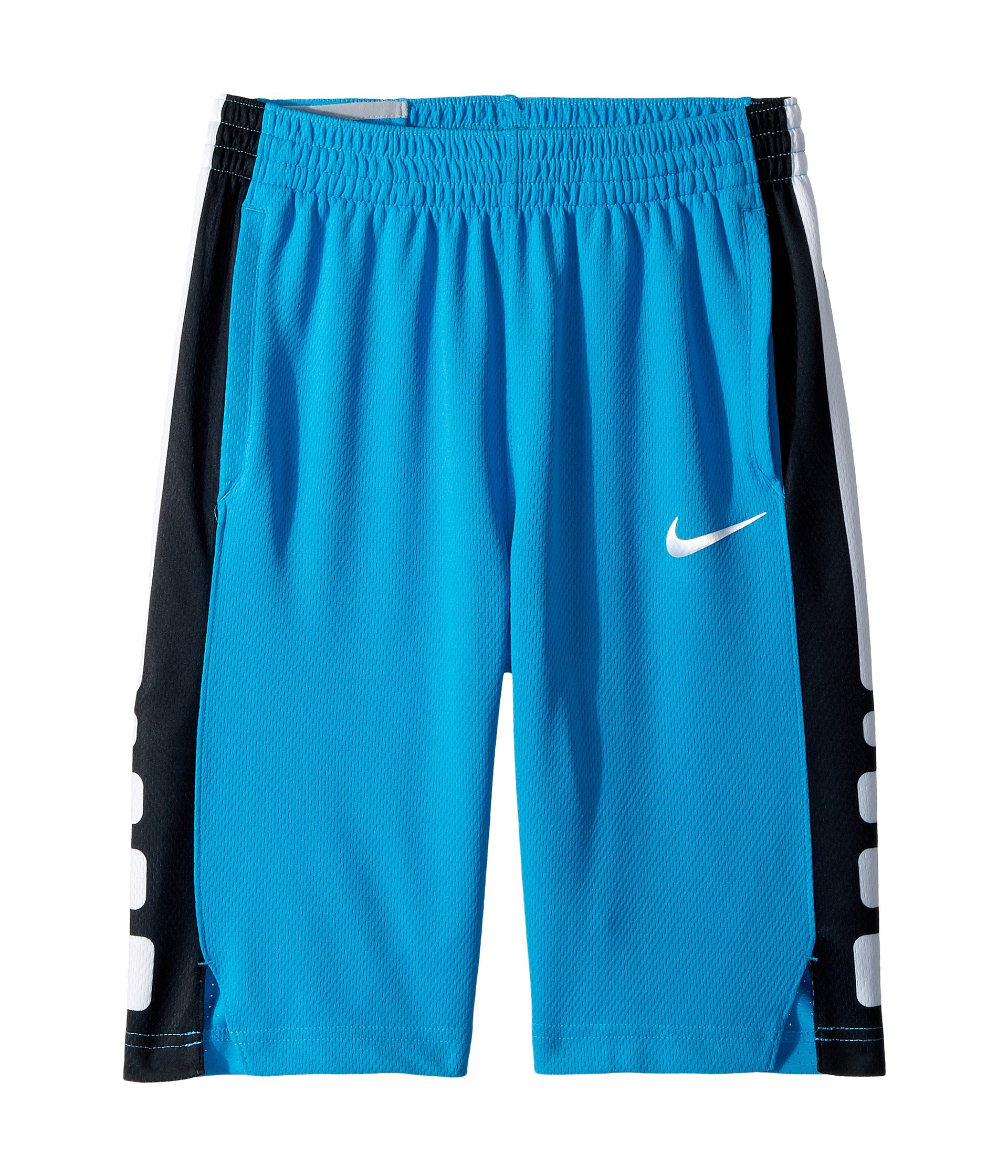 NIKE Boy's Dry Elite Stripe Basketball Shorts (Equator Blue/Black/White, Large)