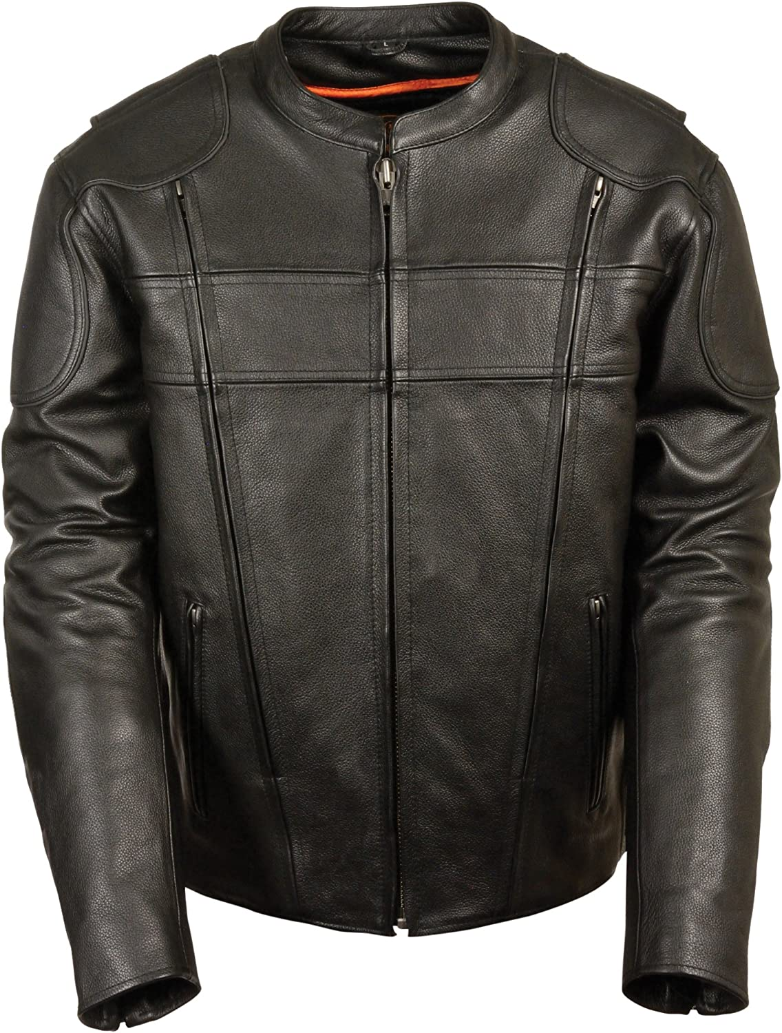 SH1033-3X-BLACK Black, XXX-Large Leather King Mens Side Stretch Vented Scooter Jacket