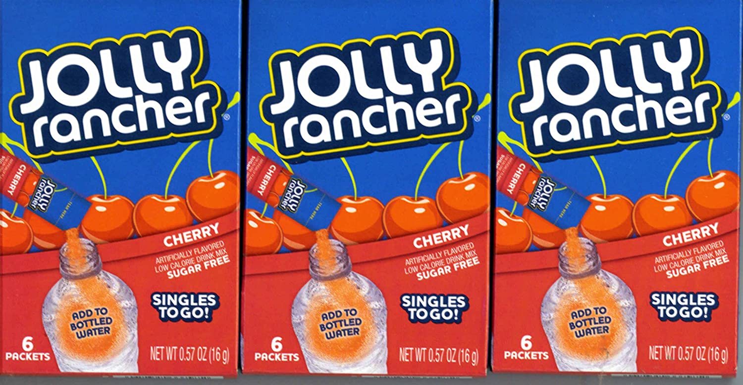 Jolly Rancher CHERRY Singles to Go 3 Boxes of 6 Packets Each