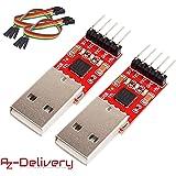 AZDelivery ⭐⭐⭐⭐⭐ 2 x CP2102 USB zu TTL Konverter HW-598 für 3,3V und 5V mit Jumper Kabel für Arduino