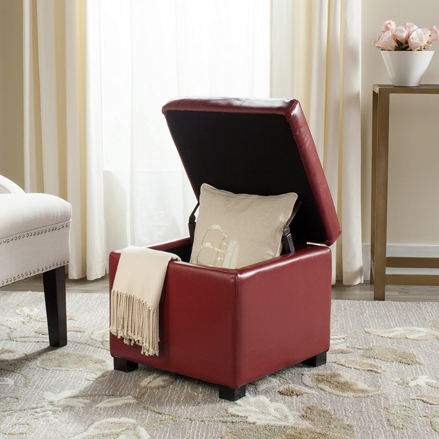 Safavieh Hudson Collection Ryder Leather Square Flip Top Ottoman, Red