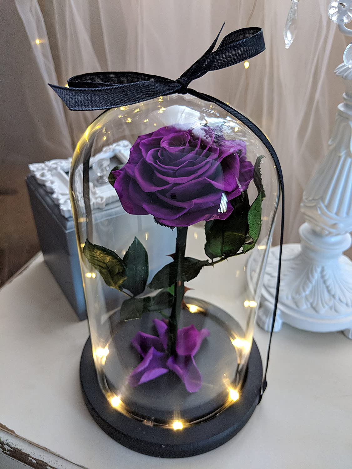 Engraved Beauty and the Beast Rose, Preserved Purple Enchanted Rose in glass Dome,Mother's Day Gift, Purple Rose in Glass Dome with LED lights,Anniversary Gift,Birthday gift,Personalized Engraved Gift Mother's Day Gift