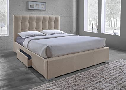 Baxton Studio Sarter Contemporary Grid-Tufted Fabric Upholstered Storage Bed 2 Drawers Queen & Amazon.com: Baxton Studio Sarter Contemporary Grid-Tufted Fabric ...