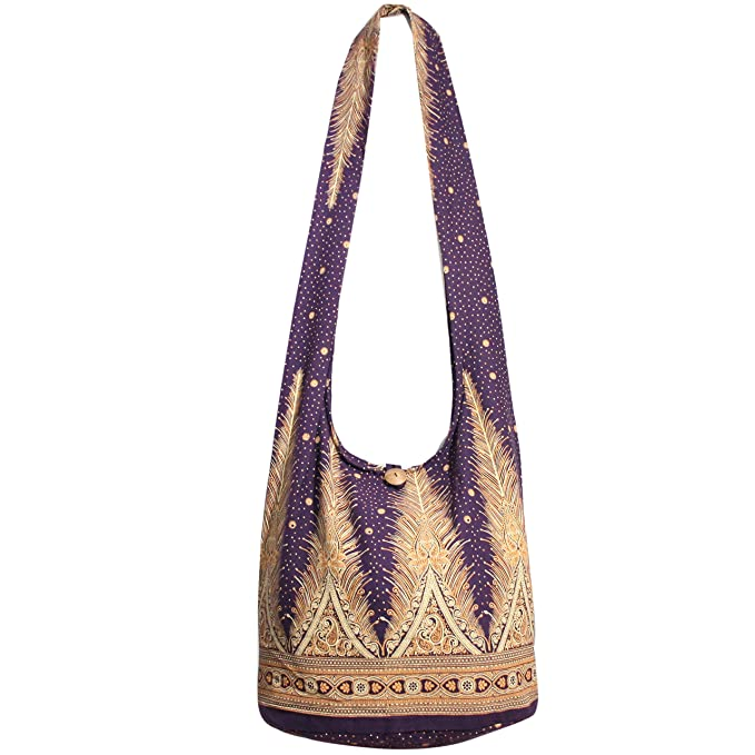 c5c8243397 Peacock Tail Hippie Bag Crossbody Handbags Messenger Bags Purse Shining  Star (Purple)