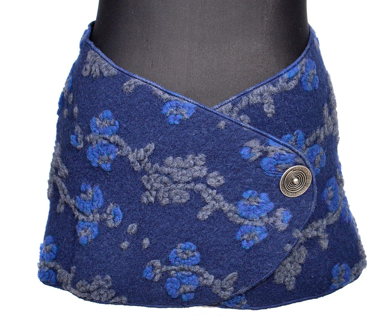 NAMSA - Cinturón de lana hecho de 80% lana, 20% poliéster, bolsa de cinturón, cinturón, cinturón de lana ancho, bufanda de lana de riñón, cinturón de lana con botón de metal plateado- Gran espiral
