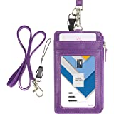 Badge Holder with Zip, Wisdompro 2-Sided Vertical Style PU Leather ID Badge Holder with 1 ID Window, 4 Card Slots, 1 Side Zipper Pocket and 1 Piece 20 Inch Leather Neck Lanyard Strap - Purple
