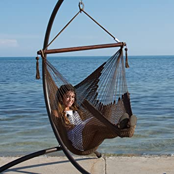 Caribbean Hammock Chair With Footrest   40 Inch   Soft Spun Polyester    (Mocha