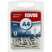 Novus Aluminium Blindnieten 12 mm, 70 Nieten, Ø 4 mm, 6.5-8.5 mm Klemmlänge, zur Befestigung von Kunst-Stoffen und Leder