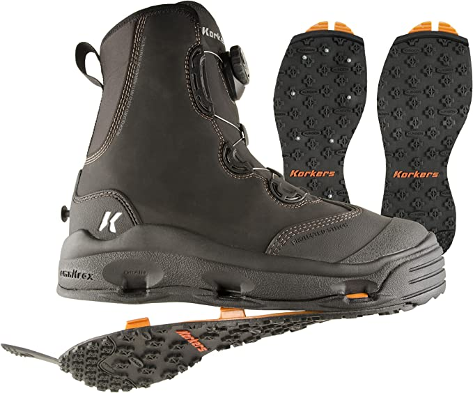 korkers devil's canyon wading boot with kling-on outsoles