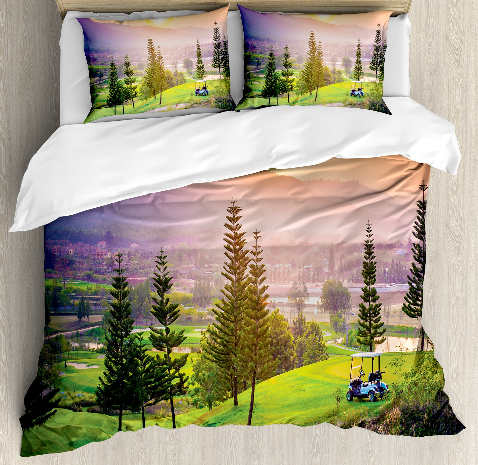 Farm House Decor Duvet Cover Set by Ambesonne, Vibrant Golf Resort Park in Spring Season with Trees Sunset Hills and Valley, 3 Piece Bedding Set with Pillow Shams, Queen / Full, Multi