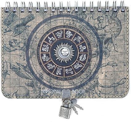 Diario Personal para Escribir Tama/ño A5 Original estilo Vintage 15x21 cm Con Anillas o espiral con Candado y Llave 150 p/áginas Trashy World