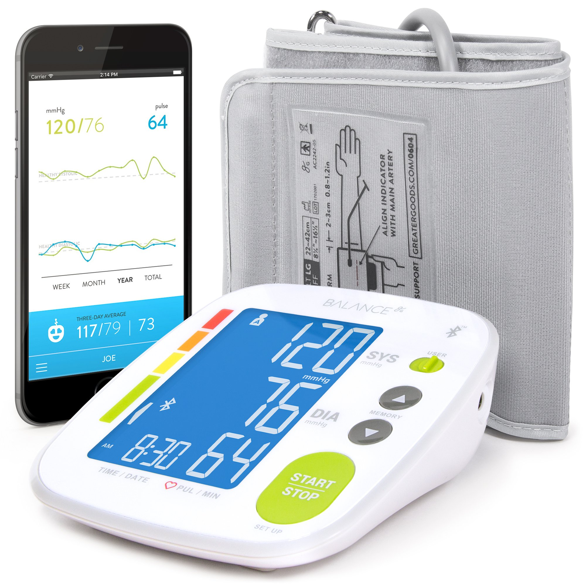 Bluetooth Blood Pressure Monitor Cuff by GreaterGoods