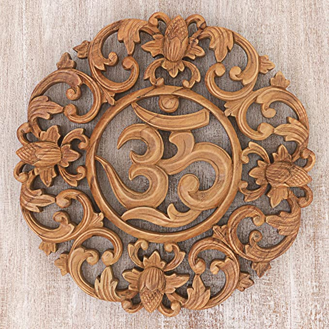 Novica 277584 Floral Hand Made Suar Wood Relief Panel Wall Art Brown Flower Om Home Kitchen Amazon Com