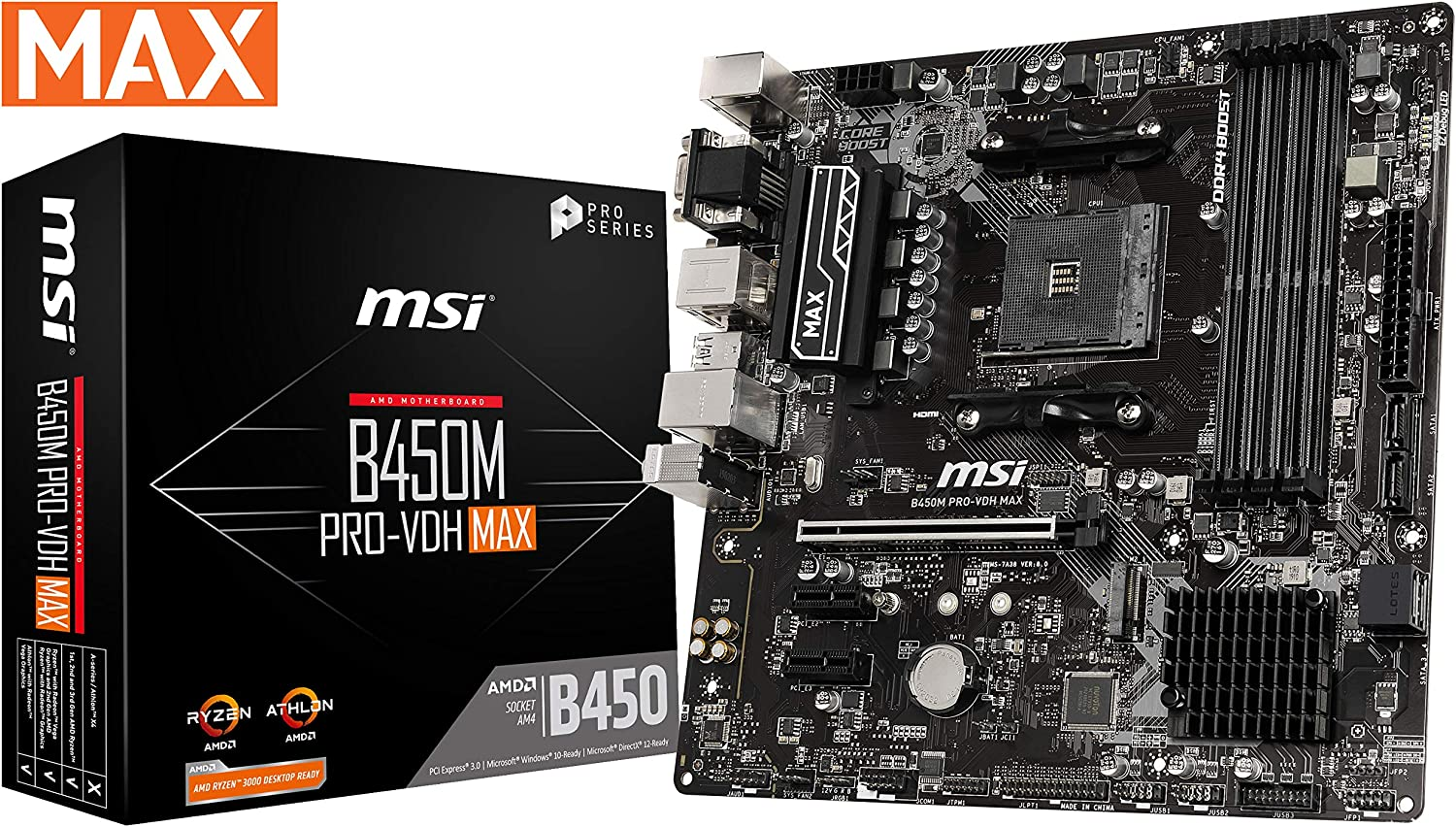 MSI ProSeries AMD Ryzen 2ND and 3rd Gen AM4 M.2 USB 3 DDR4 D-Sub DVI HDMI Micro-ATX Motherboard (B450M PRO-VDH Max)