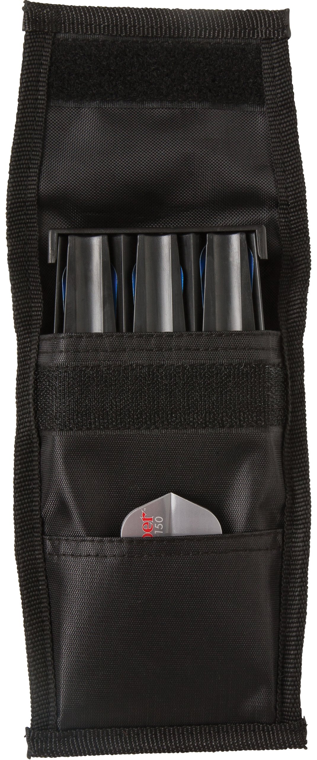 Casemaster Single Black Dart Case with Solid Plastic Insert and Flexible, Tough Nylon Covering, Holds 3 Steel Tip and Soft Tip Darts, Hard Shell Keeps Flights in Perfect Shape