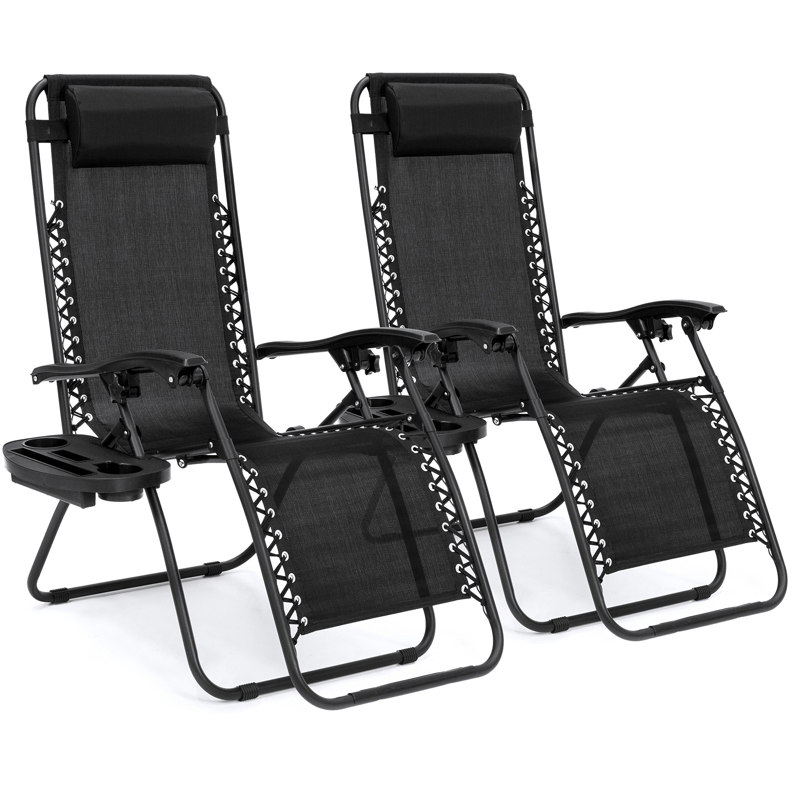 Best Choice Products Set of 2 Adjustable Zero Gravity Lounge Chair Recliners for Patio, Pool w/Cup Holders - Black