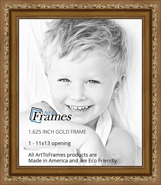 amazoncom arttoframes 11x13 11 x 13 picture frame gold with beads 1625 wide 2womd10051 single frames