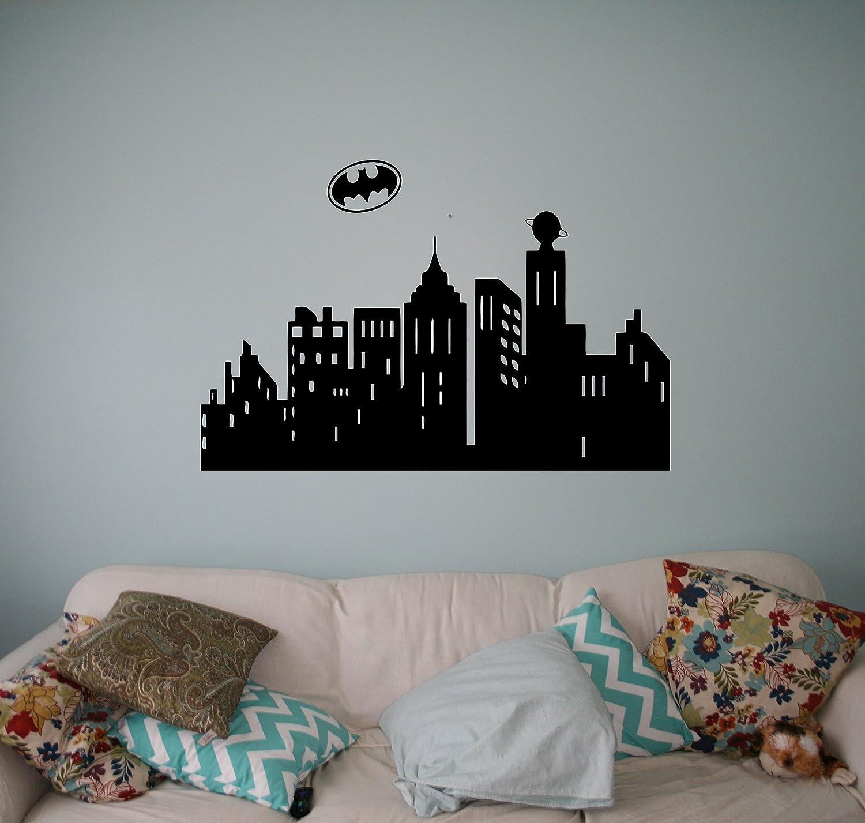GOTHAM CITY SKYLINE Batman Wall Sticker Decal DIY Mural Graphic Super Hero
