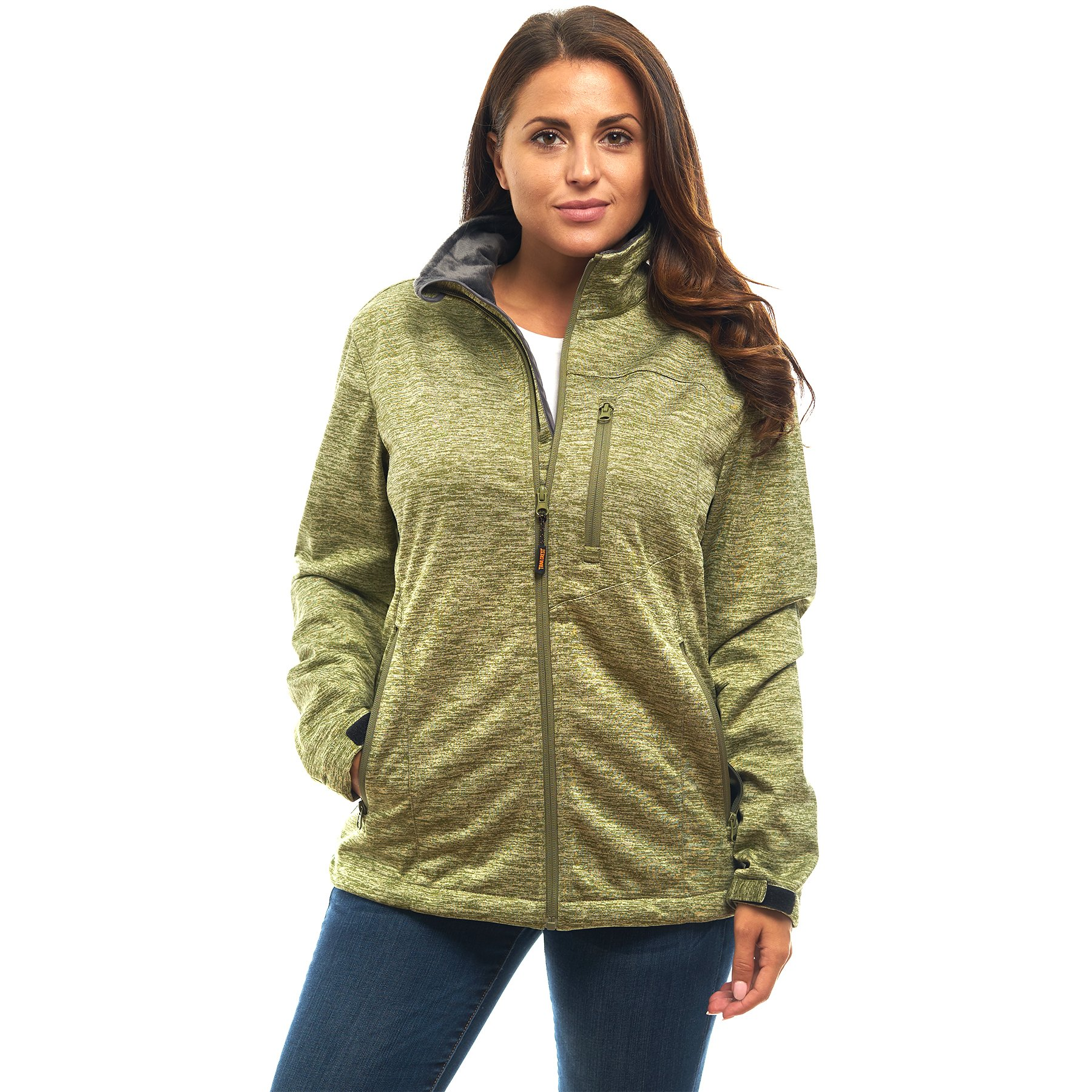 TrailCrest Women's Softshell Hooded Jacket - Super Soft Plush Coral Fleece Lining- Full Zipper