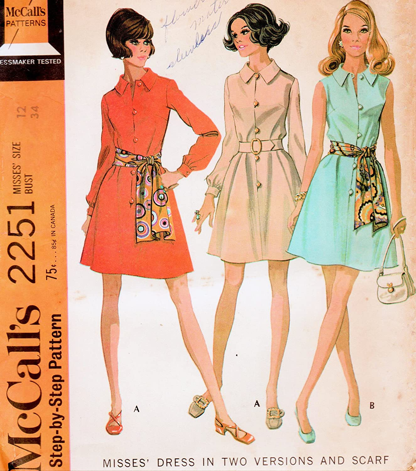 9140de4e500de Amazon.com: Vintage McCall's Pattern 2251 Misses' Size 12 Bust 34 - Misses'  Dress In Two Versions And Scarf: McCall: Arts, Crafts & Sewing