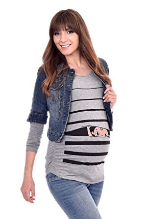 84a30096 Peaberry Women's Baby Peeking Maternity Shirt Baby Shower Gift, Grey at  Amazon Women's Clothing store: