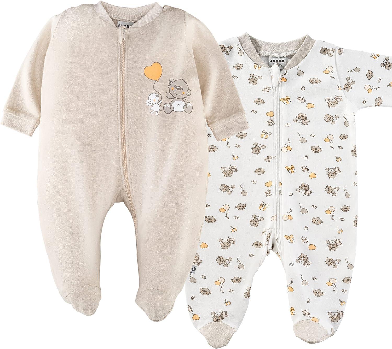 Pijamas para beb/é de manga larga con pies Jacky - 100/% algod/ón // Certificado Oeko-Tex Standard 100 // Unisex // Color: beige // blanco con ositos 2 Ud