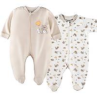 Jacky - Pijamas bebé Manga Larga con pies - 2 Ud. - 100% algodón / Certificado Oeko-Tex / Unisex / Beige - Blanco con…