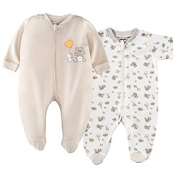 e9bdea17e0 2er Set - Jacky Baby Schlafstrampler/Schlafanzug mit Füßen/Unisex / 100%  Baumwolle