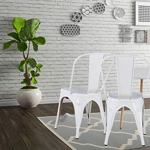 Modern Mid-Century Dining Kitchen Metal Side Arm Chair Copper Bronze Rustic Distressed Dining Bistro Cafe Stackable Side Chair Set of 4 4White