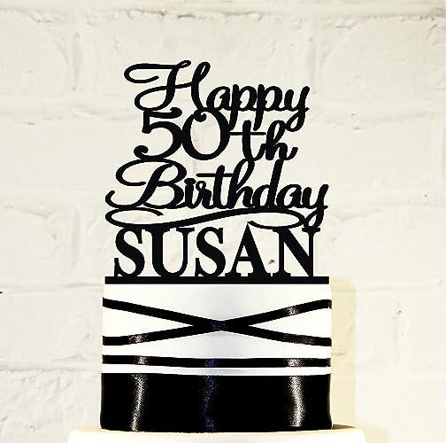 Amazon 50th Birthday Name Cake Topper