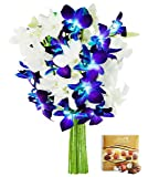 KaBloom Valentine's Day Collection: Starry Night in the Tropics Bouquet of Blue and White Orchids from Thailand with Vase and One Box of Lindt Chocolates