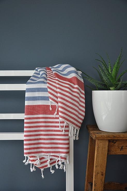 Bodrum turco hammam playa y toalla de baño (rojo y azul)