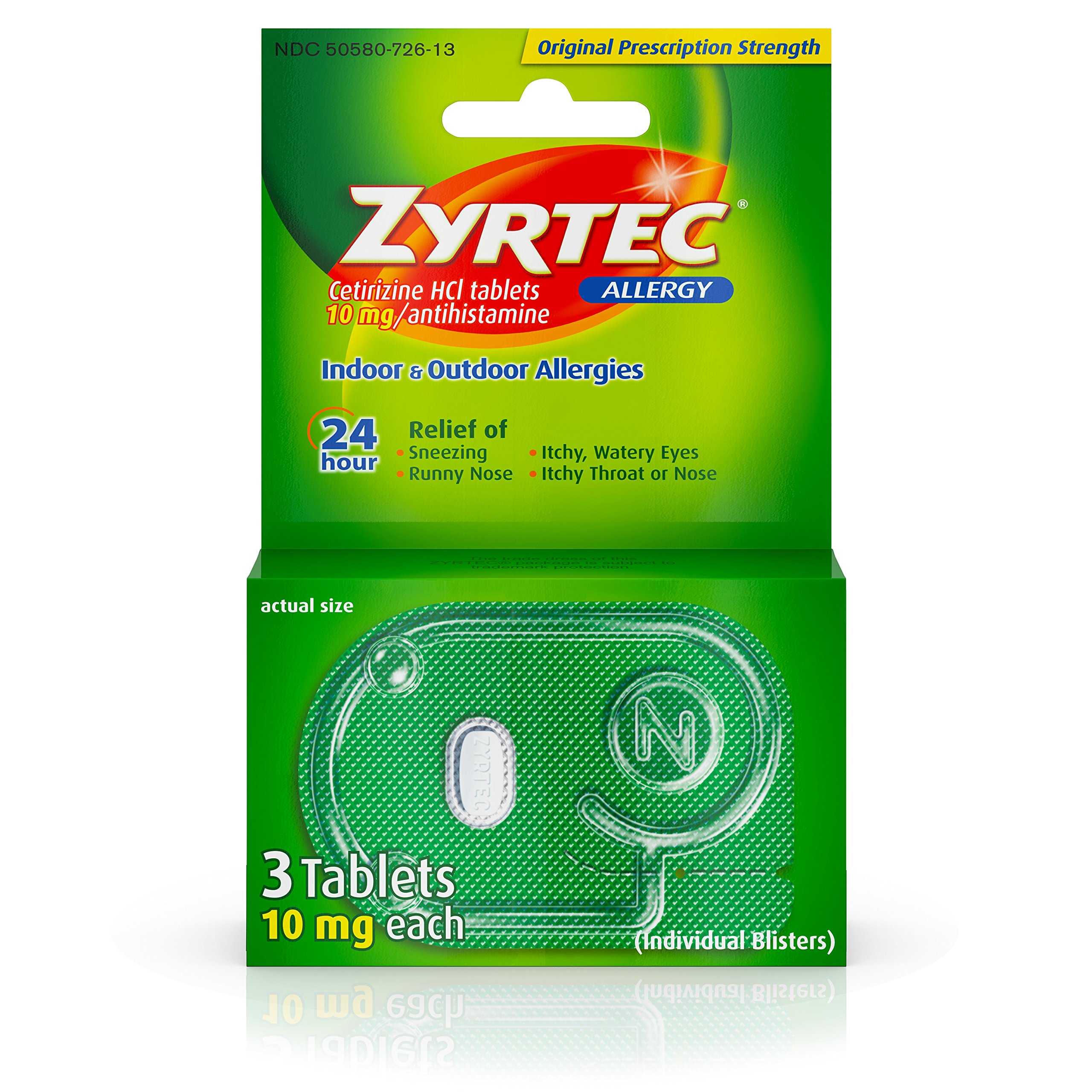 Zyrtec Prescription-Strength Allergy Medicine Tablets With Cetirizine, 3 Count, 10 mg, Travel Size (Pack of 6)