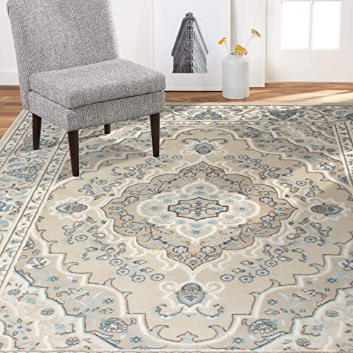 Home Dynamix 6531-186 Oxford Caspian Traditional Area Rug 7 10 x10 2 , Oriental Medallion Beige Cream