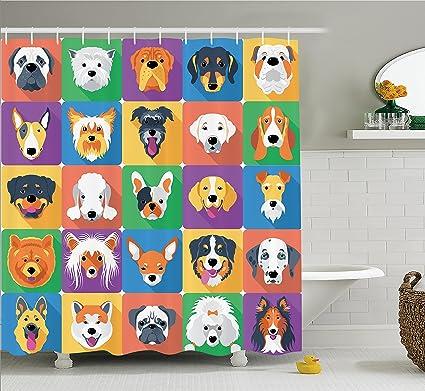 Ambesonne Dog Lover Decor Shower Curtain Breeds Profiles Pets Shepherd Terrier Labrador Domestic Animals