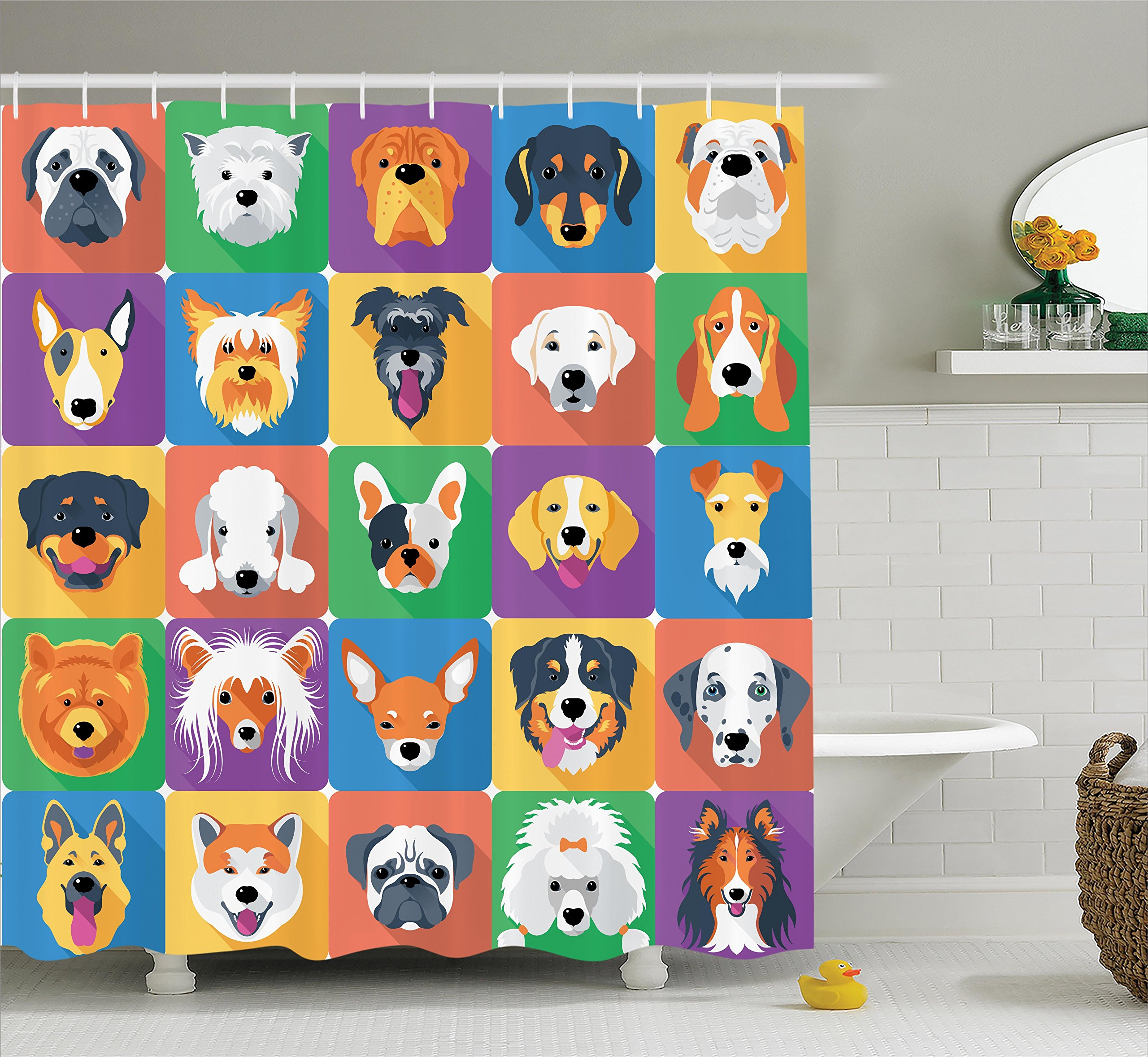 Ambesonne Dog Lover Decor Shower Curtain, Dog Breeds Profiles Pets Shepherd Terrier Labrador Domestic Animals Illustration, Fabric Bathroom Set with Hooks, 69W X 70L inches Long, Purple and Green