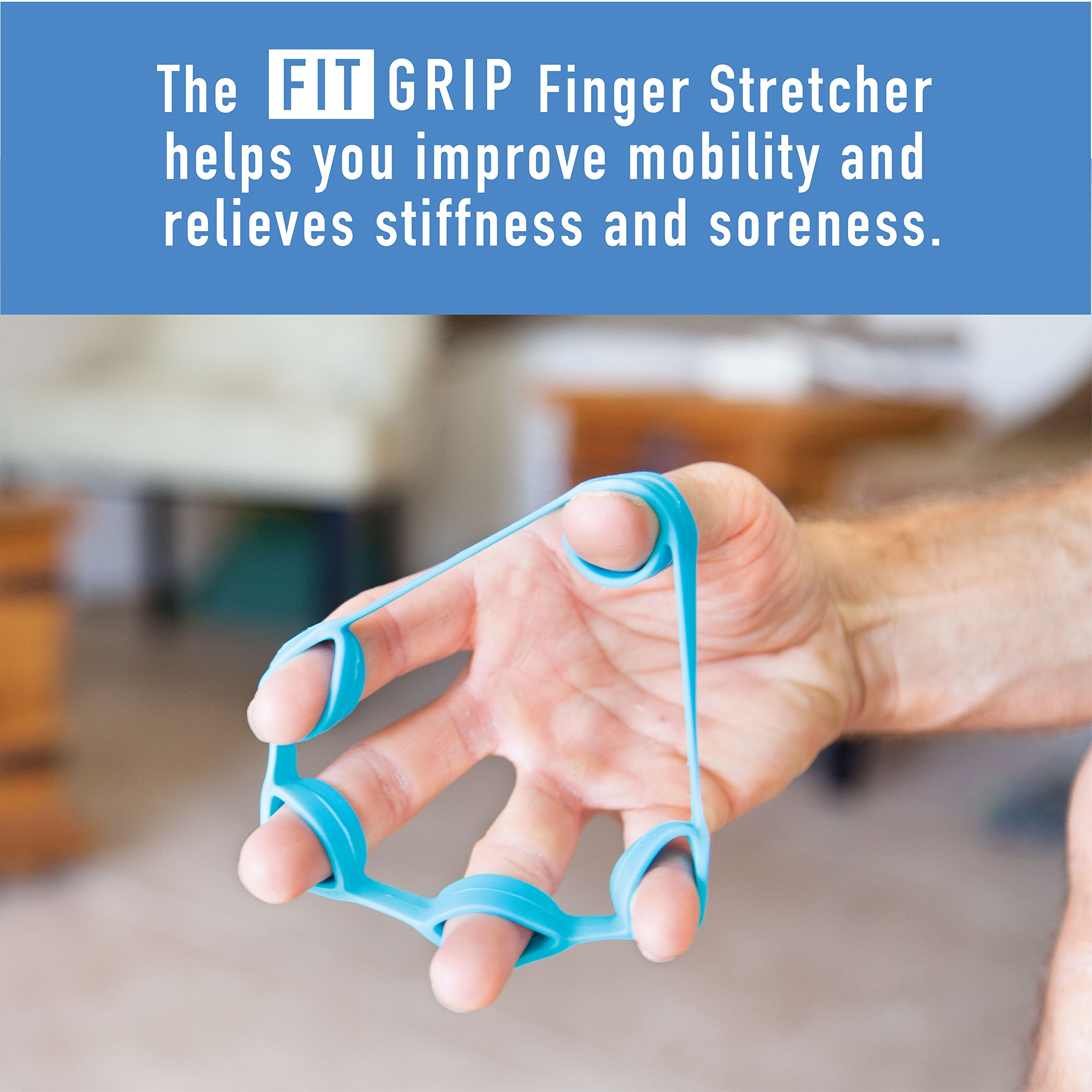 Hand Grip Strength and Forearm Trainer 4-Pack Bundle: Resistance Grip Strengthener, Finger Trainer, Finger Exerciser Stretcher, Grip Ring | Ideal for Athletes, Therapy for Arthritis, Carpal Tunnel by Fit Grip (Image #5)