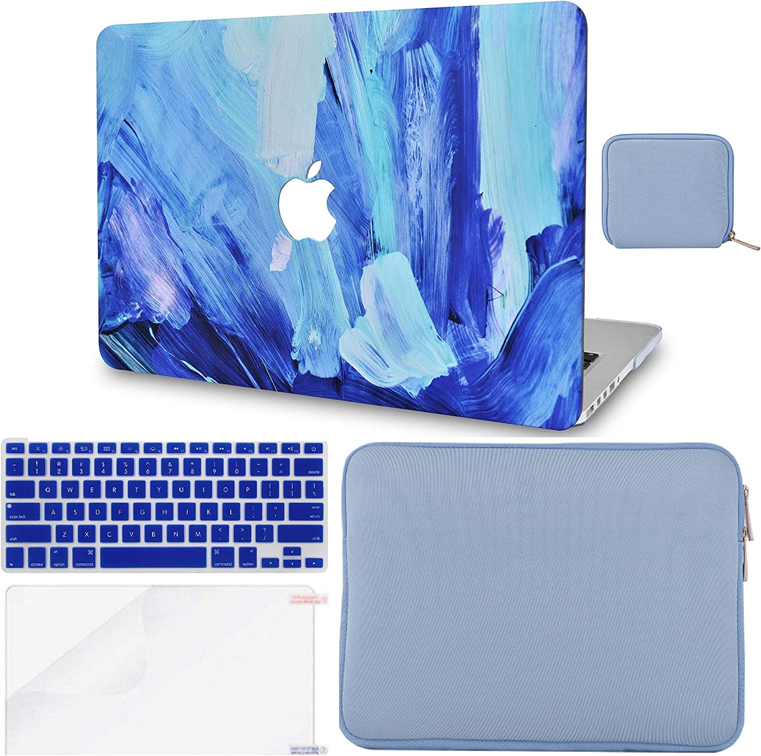 LuvCase 5in1 LaptopCase forMacBookAir 13 Inch(Touch ID)(2020) A2179 Retina Display HardShell Cover, Slim Sleeve, Pouch, Keyboard Cover & Screen Protector (Oil Paint 5)